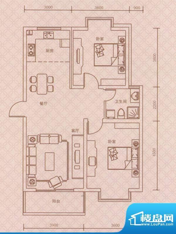 紫荆城A3户型 2室2厅面积:86.00m平米