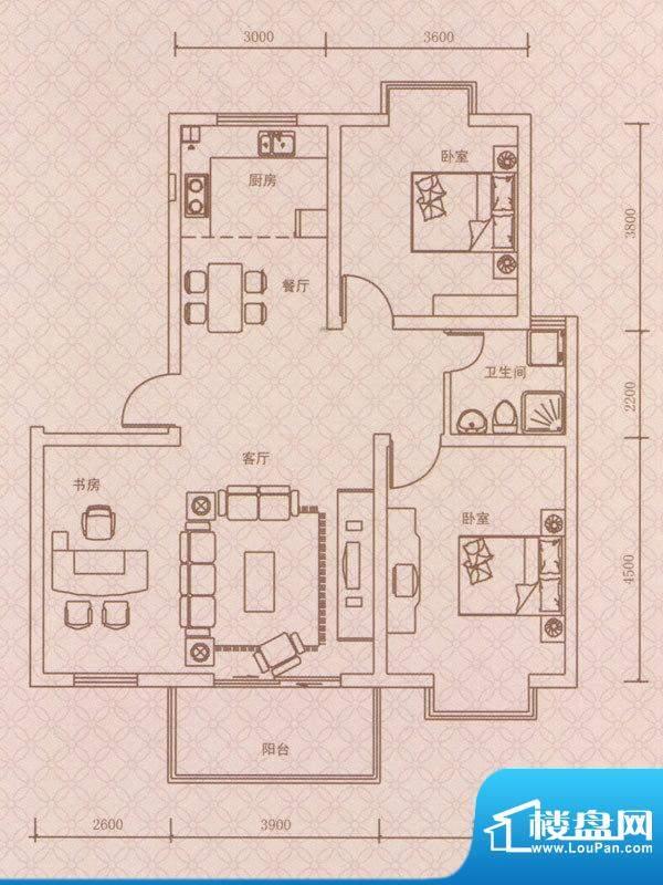 紫荆城B1户型 3室2厅面积:106.00m平米
