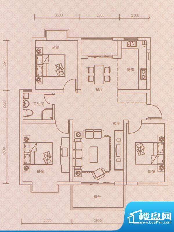 紫荆城B2户型 3室2厅面积:110.00m平米