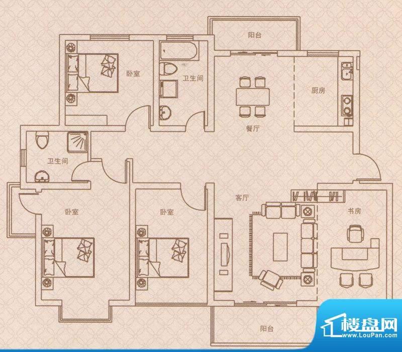 紫荆城E2户型 4室2厅面积:140.00m平米