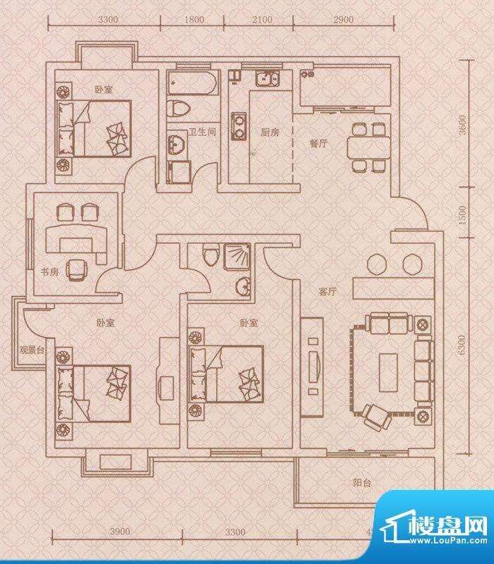 紫荆城D2户型 4室2厅面积:139.00m平米