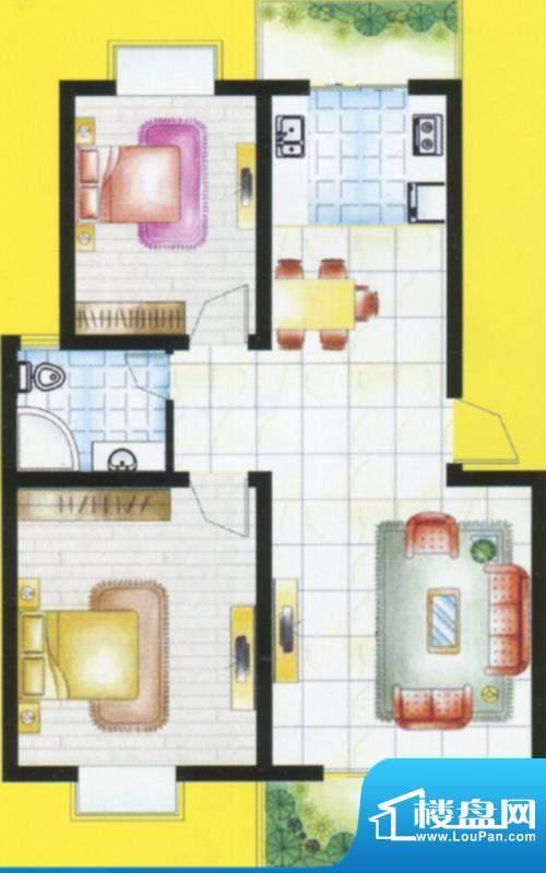 紫荆城A2户型 2室2厅面积:88.00m平米