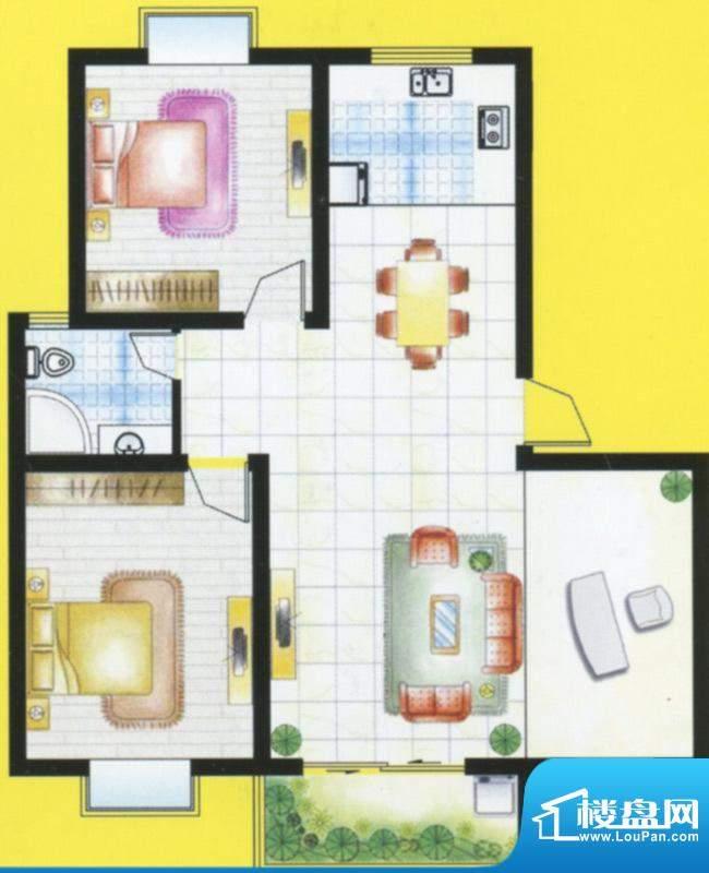 紫荆城B1户型 3室2厅面积:100.00m平米