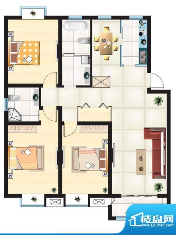 尚城一品户型L 3室2面积:137.49m平米