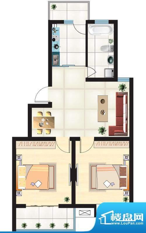 尚城一品户型A 2室2面积:84.04m平米