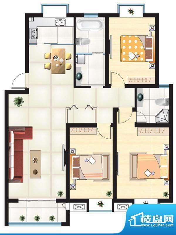 尚城一品户型K 3室2面积:129.15m平米
