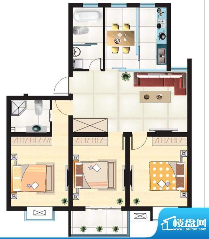 尚城一品户型I 3室2面积:117.02m平米