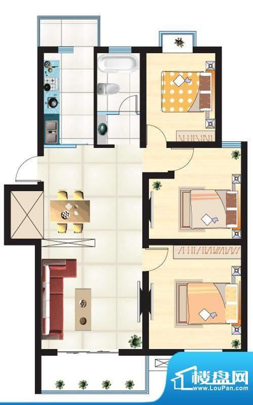 尚城一品户型H 3室2面积:106.92m平米