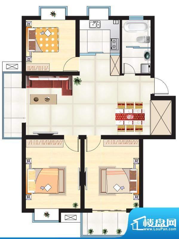 尚城一品户型G 3室2面积:113.91m平米