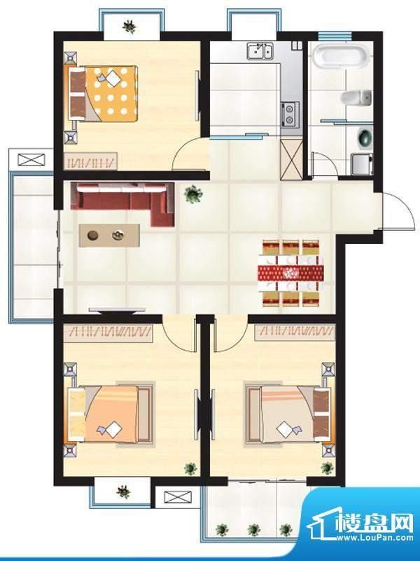 尚城一品户型F 3室2面积:115.86m平米