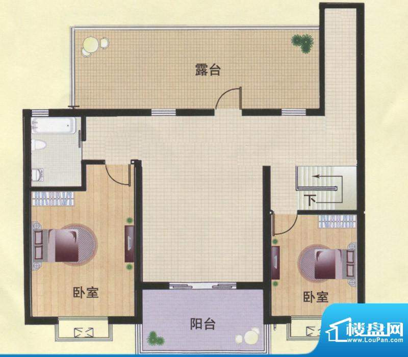 东方明珠阁楼C2A户型面积:142.00m平米