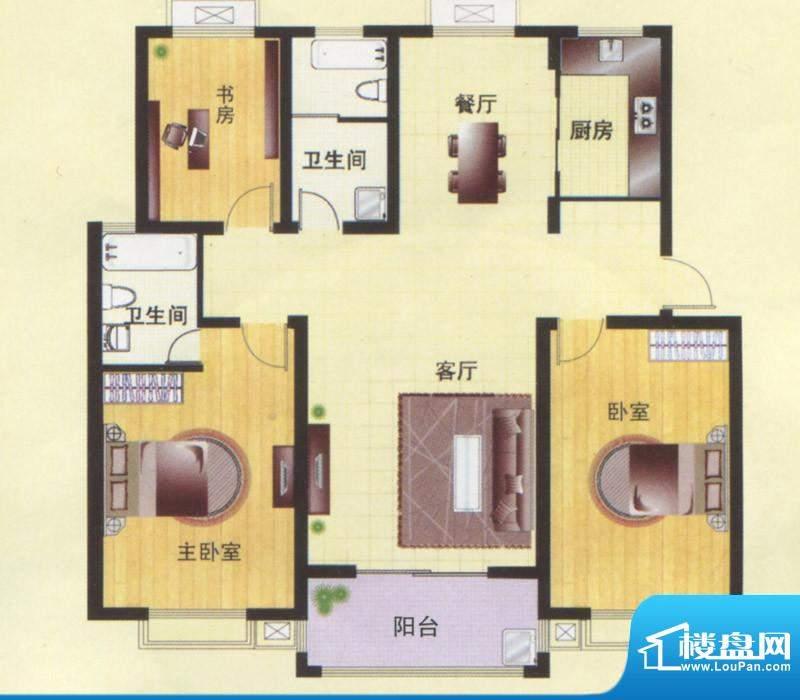 东方明珠一楼平面C1面积:134.00m平米