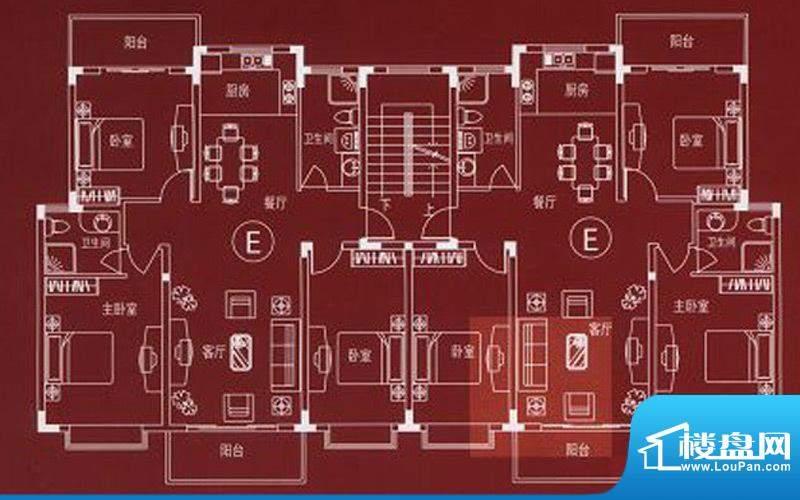 万嘉名城户型E 3室2面积:117.30m平米