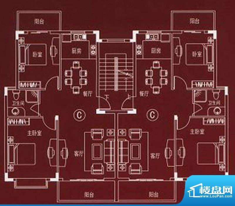 万嘉名城户型C 2室2面积:89.30m平米