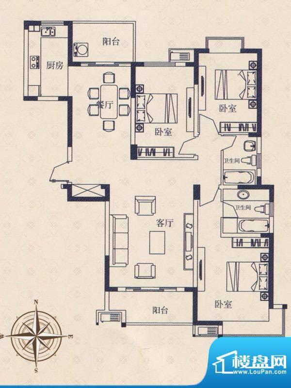 海德国际户型B 3室2面积:0.00m平米