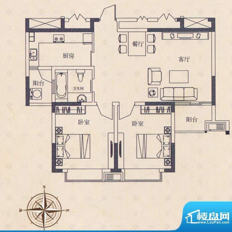 海德国际户型D 2室2面积:0.00m平米
