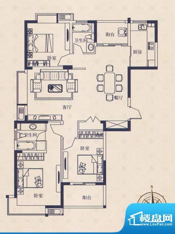 海德国际户型A 3室2面积:0.00m平米