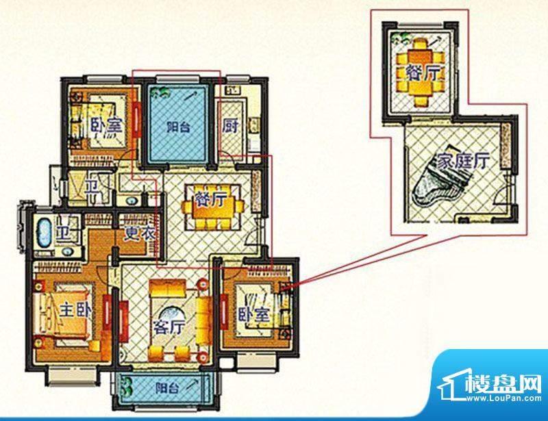 嘉和丽苑e户型 3室2面积:123.52m平米