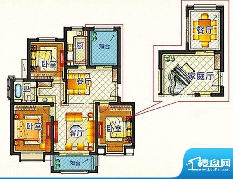 嘉和丽苑d户型 3室2面积:110.99m平米