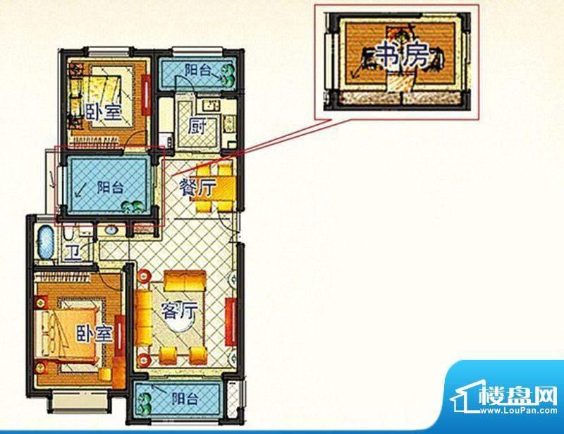 嘉和丽苑c户型 3室面积:91.35m平米