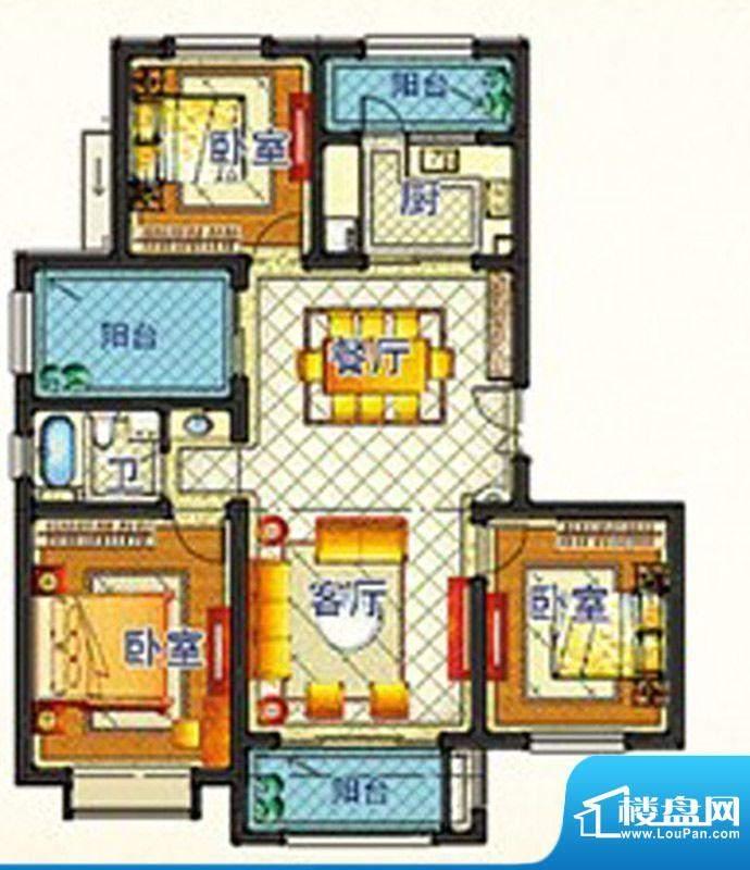 嘉和丽苑b户型 3室2面积:111.10m平米