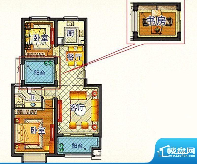 嘉和丽苑a户型 2室2面积:86.74m平米