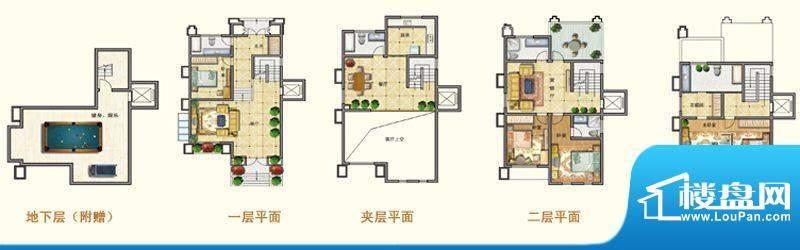 将军一品D户型 4室3面积:371.39m平米