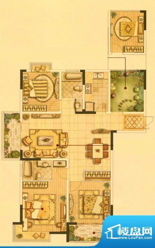 皇廷御苑3号楼D户型面积:141.22m平米