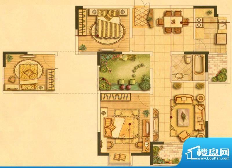 皇廷御苑3号楼F户型面积:100.98m平米