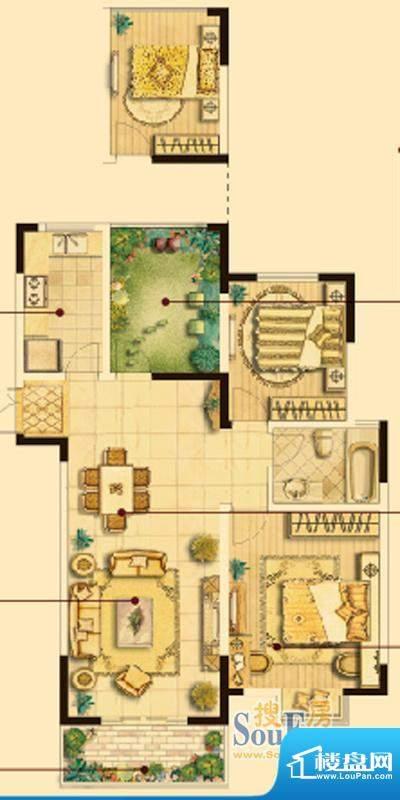 皇廷御苑B户型 2室2面积:107.68m平米