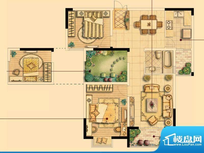 皇廷御苑C户型 2室2面积:104.83m平米