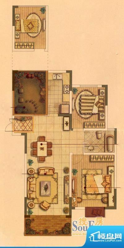 皇廷御苑3号楼E户型面积:103.66m平米