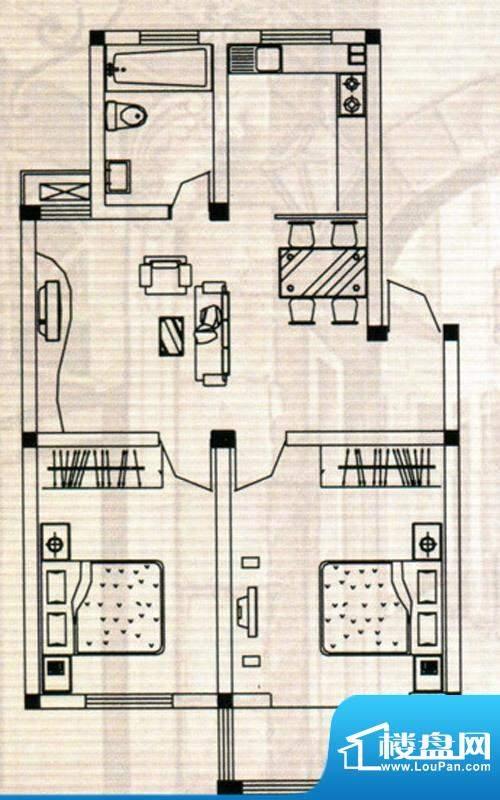 嘉鸿豪庭户型E 2室2面积:85.00m平米