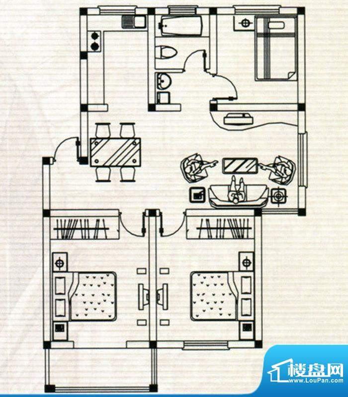 嘉鸿豪庭户型D 3室2面积:103.00m平米