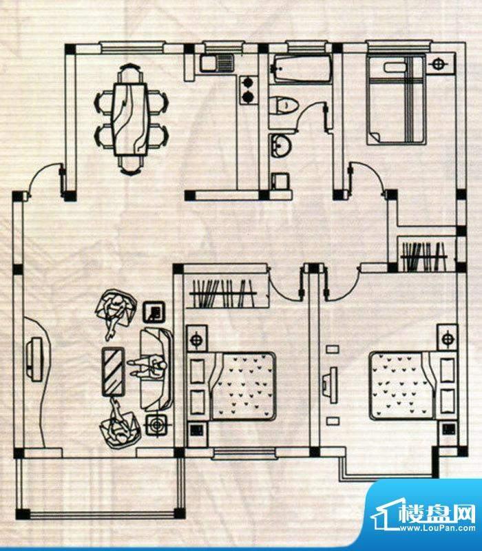 嘉鸿豪庭户型C 3室2面积:122.00m平米