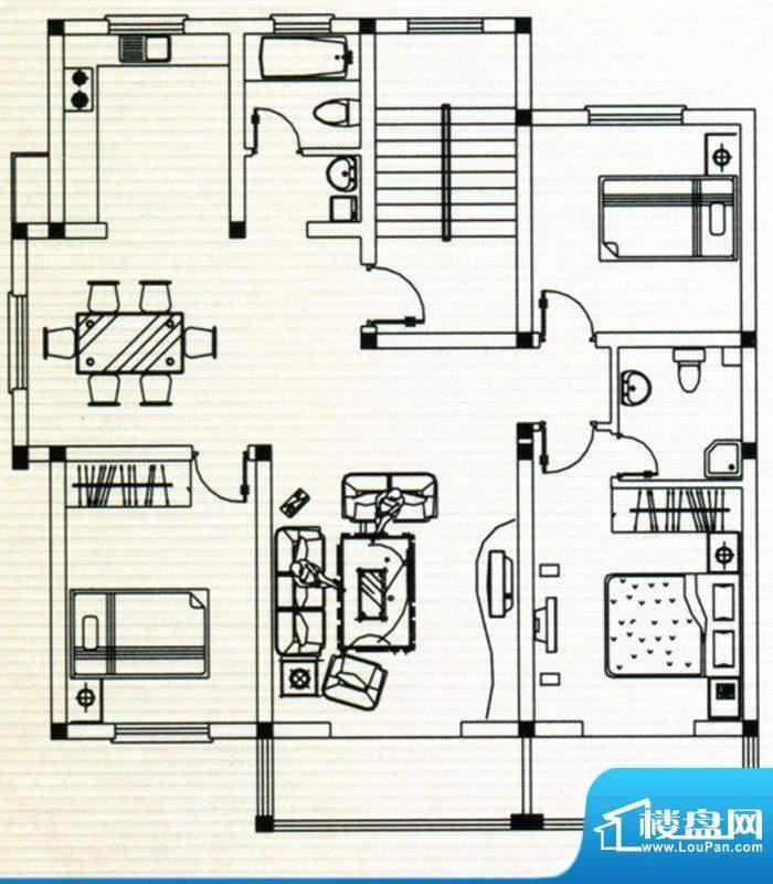 嘉鸿豪庭户型A 3室2面积:138.00m平米