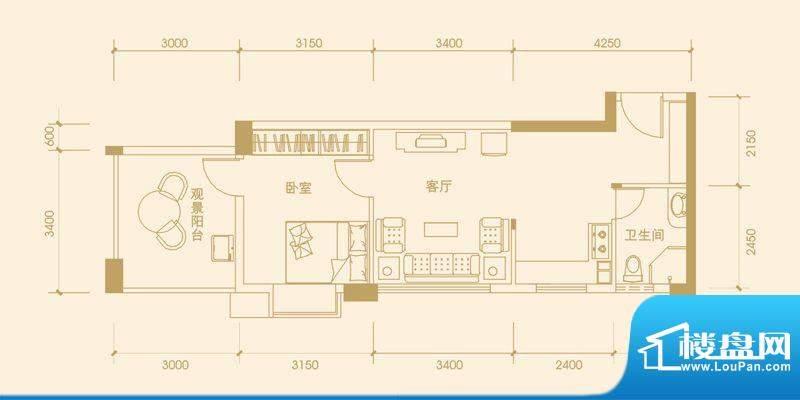 富丽华海御2#E户型 面积:60.72m平米