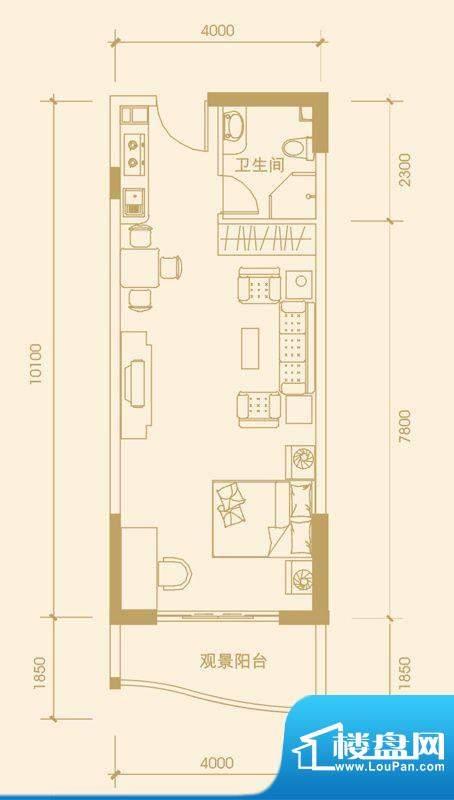 富丽华海御2#F户型 面积:54.54m平米