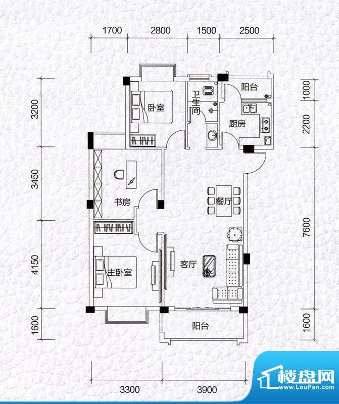 同和泊湾E户型图 3室面积:84.56m平米