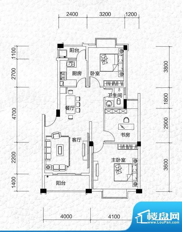 同和泊湾D户型图 3室面积:89.71m平米
