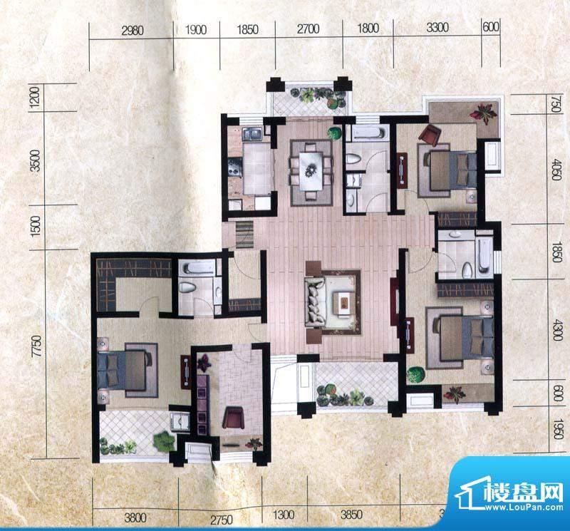 瀚海尊爵Ce户型图 4面积:187.33m平米