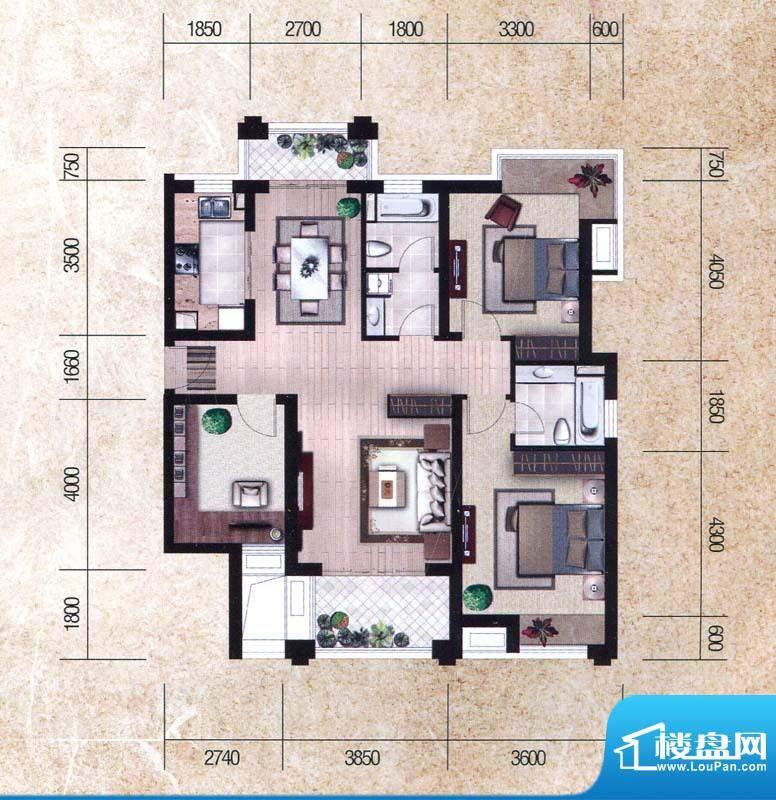 瀚海尊爵Cc户型图 3面积:131.10m平米