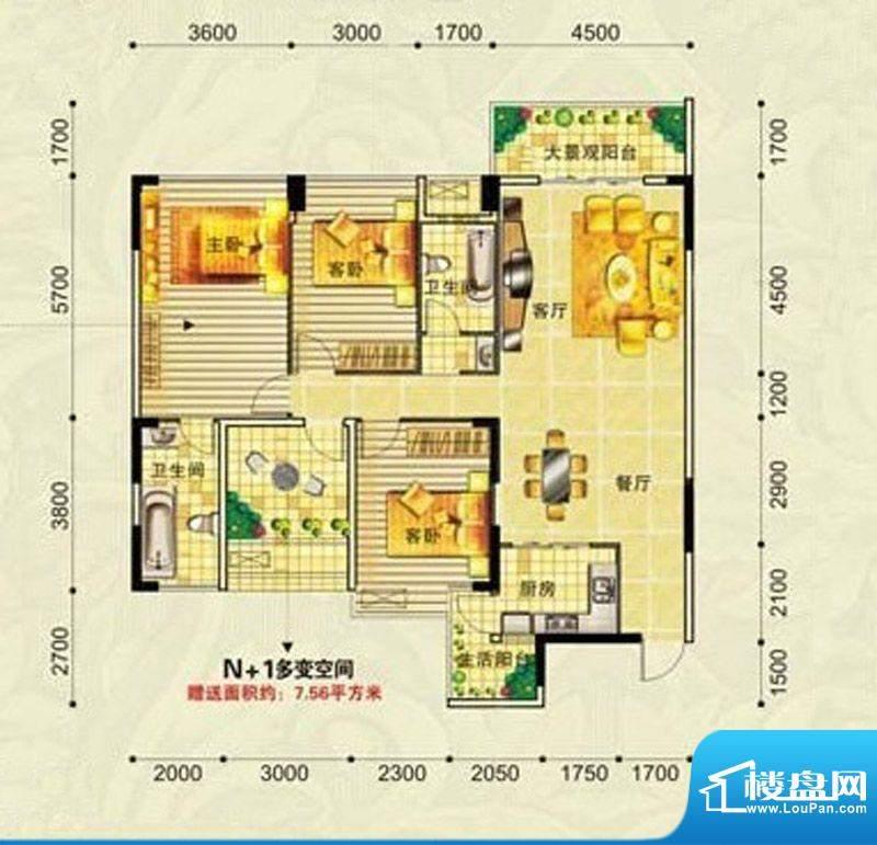 广益·中央公园K户型面积:136.03m平米