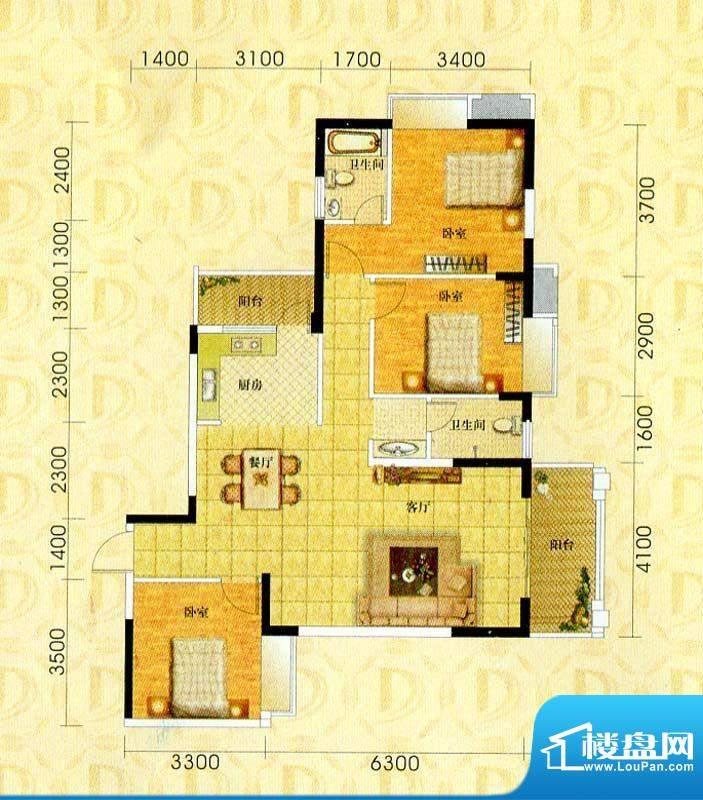 东旭华庭B2户型图 3面积:129.09m平米
