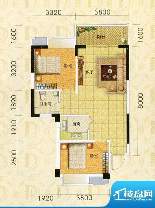 东旭华庭B1户型图 2面积:76.21m平米