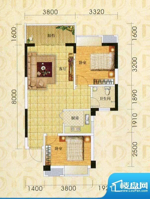 东旭华庭A6户型图 2面积:76.21m平米