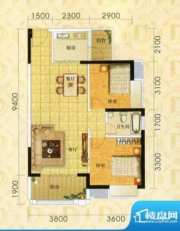 东旭华庭A5户型图 2面积:85.78m平米