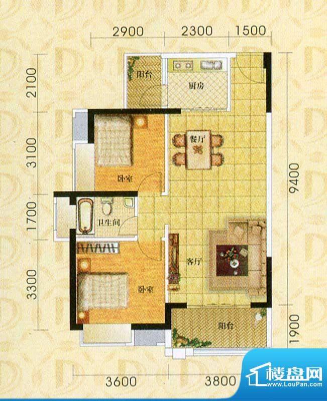 东旭华庭A4户型图 2面积:86.00m平米