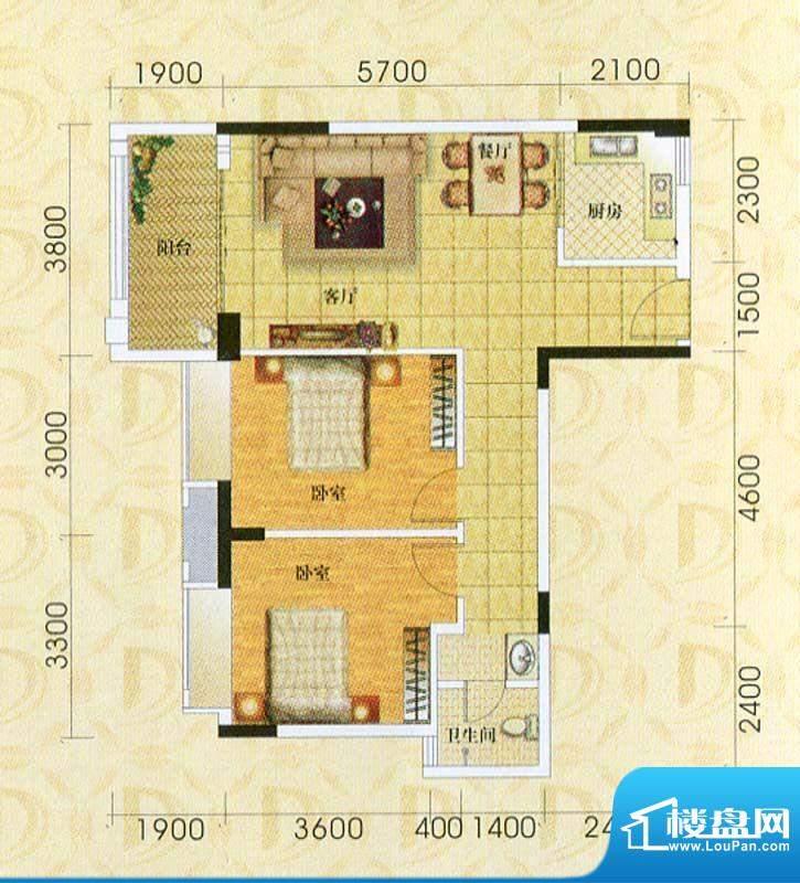 东旭华庭A3户型图 2面积:86.89m平米