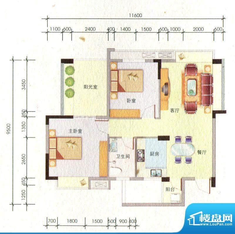 百丰花园4-A户型图 面积:88.63m平米